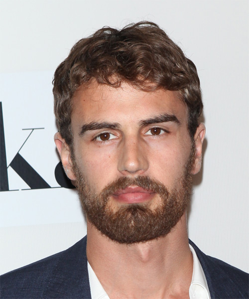 Theo James Short Wavy Casual Hairstyle - Medium Brunette Hair Color