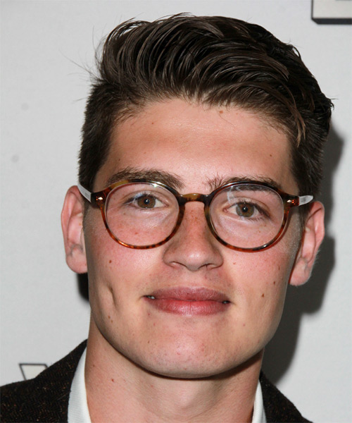 Gregg Sulkin Short Straight Formal Hairstyle - Dark Brunette Hair Color