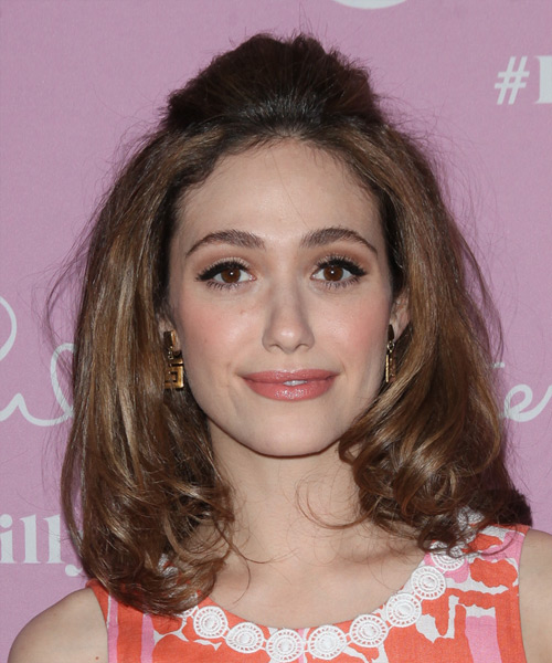 Emmy Rossum Medium Wavy Casual Half Up Hairstyle