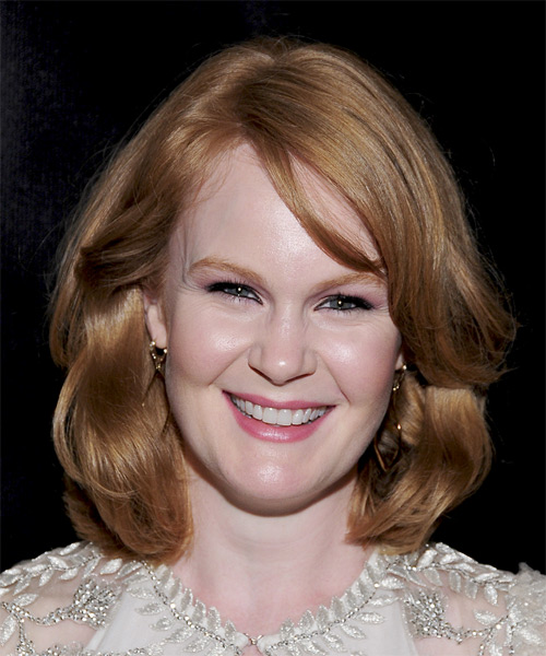 Kate Baldwin Medium Straight Formal Hairstyle - Light Brunette (Copper) Hair Color