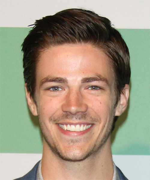 Grant Gustin Short Straight Casual Hairstyle - Dark Brunette Hair Color