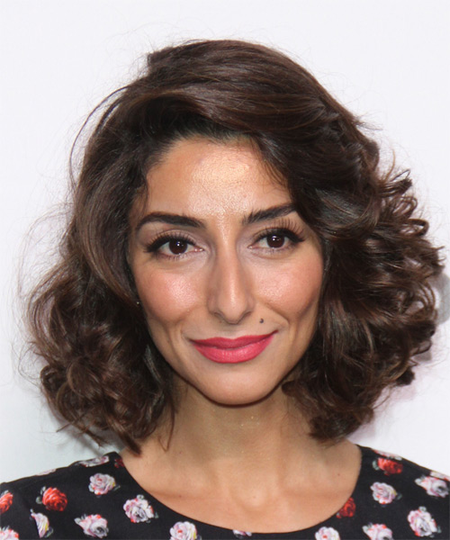 Necar Zadegan Medium Curly Formal  - Medium Brunette