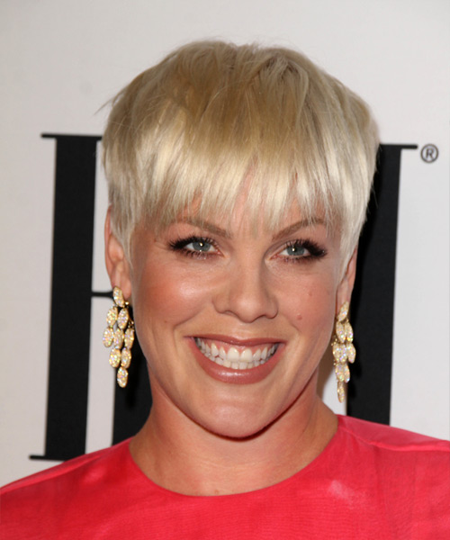 Pink Short Straight Pixie Hairstyle - Light Blonde (Golden)