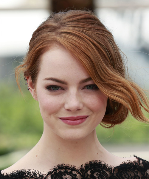 Emma Stone Long Wavy Formal Wedding - Medium Red