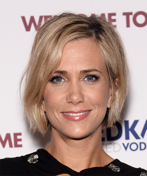 Kristen Wiig Short Straight Hairstyle - Medium Blonde (Champagne)