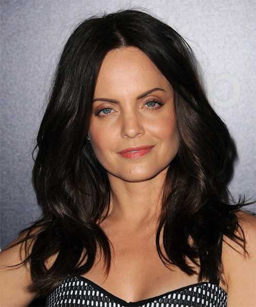 Mena Suvari Long Wavy Casual Hairstyle - Dark Brunette (Mocha) Hair Color