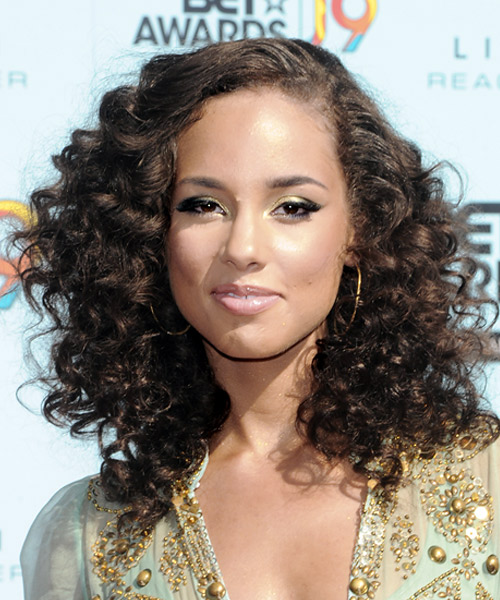 Magnificent Alicia Keys Long Curly Casual Hairstyle Thehairstyler Com Short Hairstyles Gunalazisus