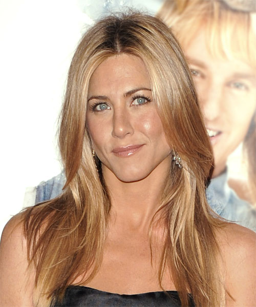 Jennifer Aniston Long Straight Casual Hairstyle - Medium Blonde (Copper) Hair Color