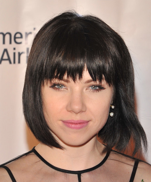 Carly Rae Jepsen Medium Straight Casual Bob Hairstyle with Razor Cut Bangs - Dark Brunette (Mocha) Hair Color