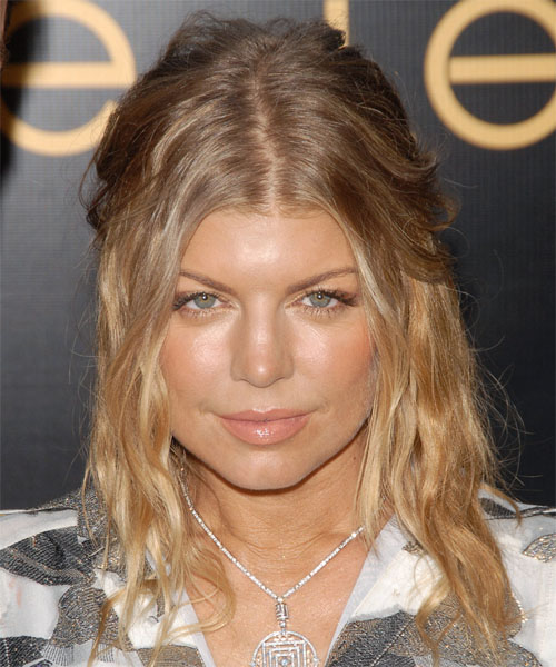 Fergie Curly Casual Half Up Hairstyle