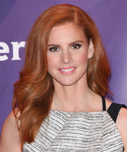 Sarah Rafferty Long Wavy Formal Hairstyle - Medium Red (Ginger)