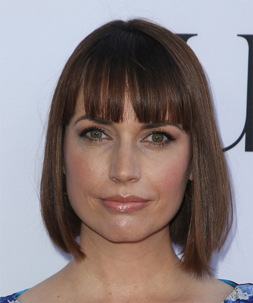 Julie Ann Emery Medium Straight Casual Bob Hairstyle with Blunt Cut Bangs - Medium Brunette Hair Color