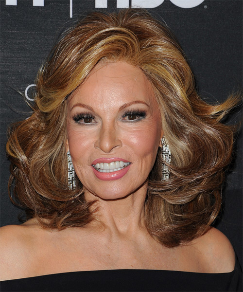 Raquel Welch Medium Wavy Formal Hairstyle - Medium Brunette Hair Color