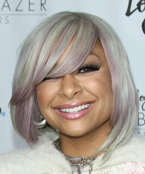 Raven Symone Medium Straight Formal Bob Hairstyle with Side Swept Bangs - Light Grey Hair Color