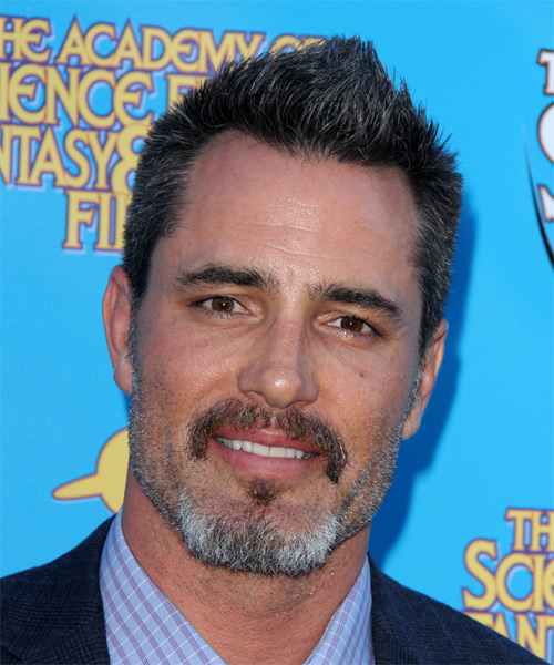 Victor Webster Short Straight Casual Hairstyle - Dark Grey