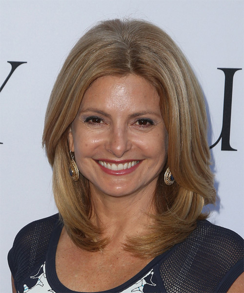 Lisa Bloom Medium Straight Formal Hairstyle - Light Brunette (Caramel) Hair Color