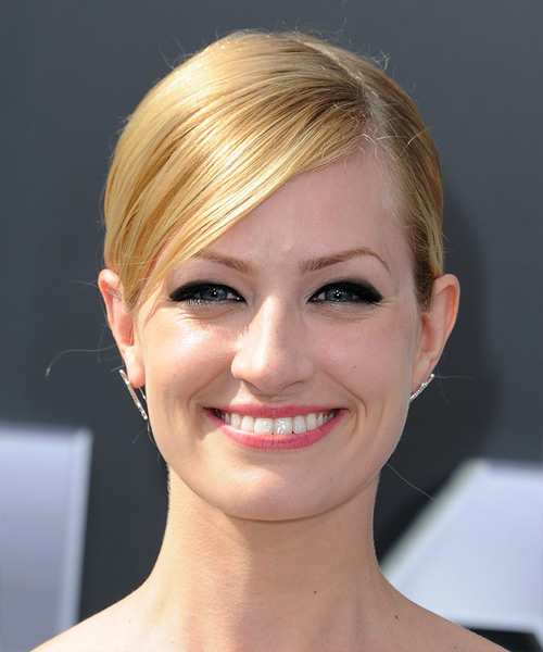 Beth Behrs Long Straight Formal Updo Hairstyle - Medium Blonde (Golden) Hair Color