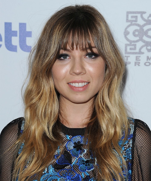 Jennette McCurdy Long Wavy Casual Hairstyle with Layered Bangs - Light Brunette Hair Color