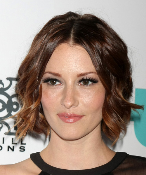 Chyler Leigh Medium Wavy Formal Hairstyle - Dark Brunette Hair Color