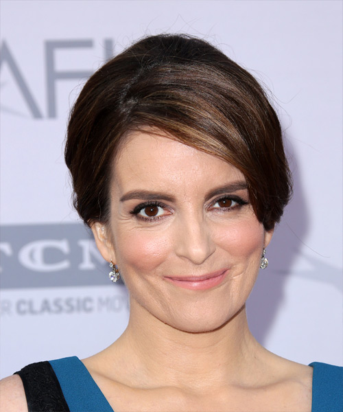 Tina Fey Long Straight Formal Wedding - Dark Brunette