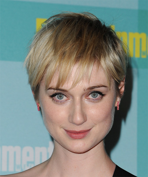 Elizabeth Debicki Short Straight Casual Pixie Hairstyle with Layered Bangs - Light Blonde Hair Color