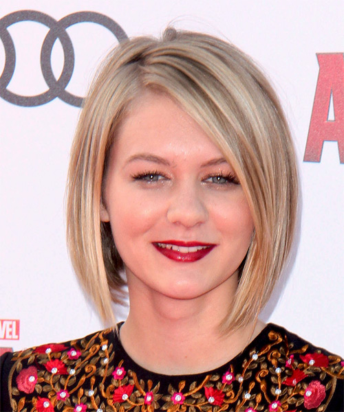 Ryan Simpkins Medium Straight Formal Bob Hairstyle - Medium Blonde Hair Color