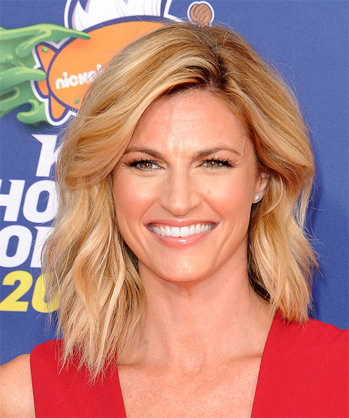 Erin Andrews Medium Straight Casual Hairstyle - Medium Blonde (Copper) Hair Color