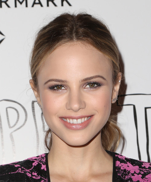 Halston Sage Long Straight Casual Updo Hairstyle Medium