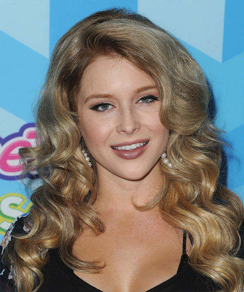 Renee Olstead Long Wavy Formal Hairstyle - Medium Blonde Hair Color