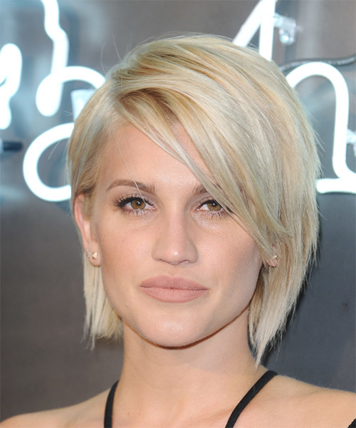 Ashley Roberts Medium Straight Casual Bob Hairstyle with Side Swept Bangs - Light Blonde Hair Color