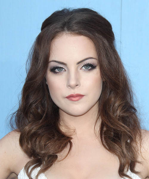 Elizabeth Gillies Long Wavy Casual Hairstyle - Medium Brunette (Chocolate) Hair Color