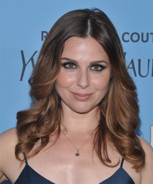 Cara Buono Long Wavy Formal Hairstyle - Medium Brunette Hair Color