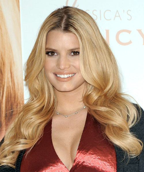 Jessica Simpson Long Wavy Formal Hairstyle - Medium Blonde (Honey) Hair Color