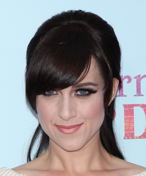 Lena Hall Long Straight Formal Half Up Hairstyle with Side Swept Bangs - Dark Brunette (Mocha) Hair Color