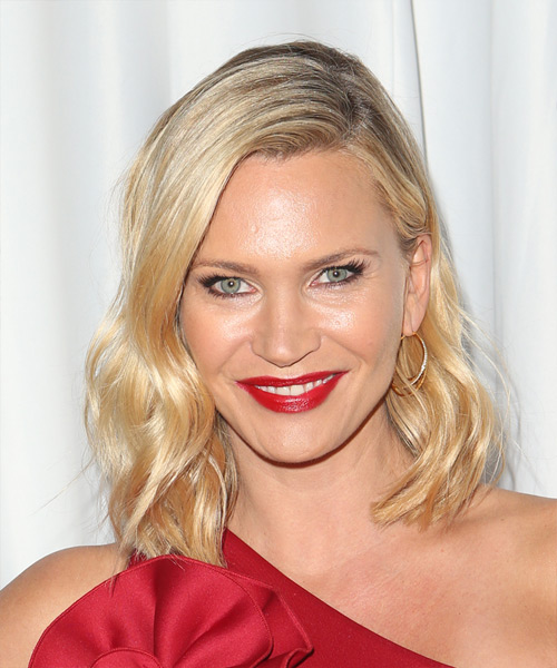 Natasha Henstridge Medium Wavy Formal Hairstyle - Medium Blonde (Golden) Hair Color