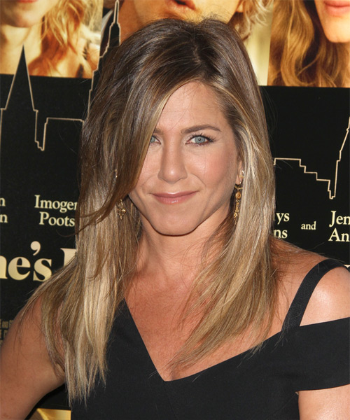 Jennifer Aniston Long Straight Casual Hairstyle with Side Swept Bangs - Light Brunette (Caramel) Hair Color