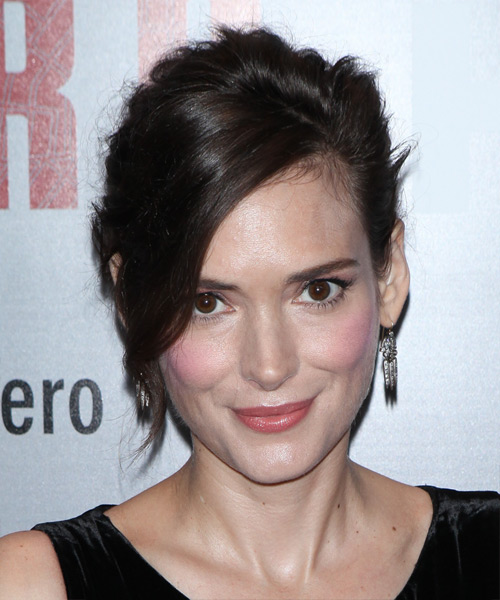 Winona Ryder Long Straight Casual Wedding Updo with Side Swept Bangs - Dark Brunette