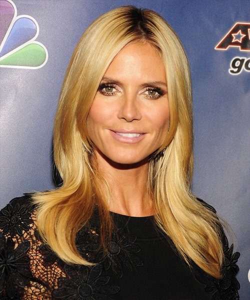 Heidi Klum Long Straight Formal Hairstyle - Dark Blonde (Honey) Hair Color