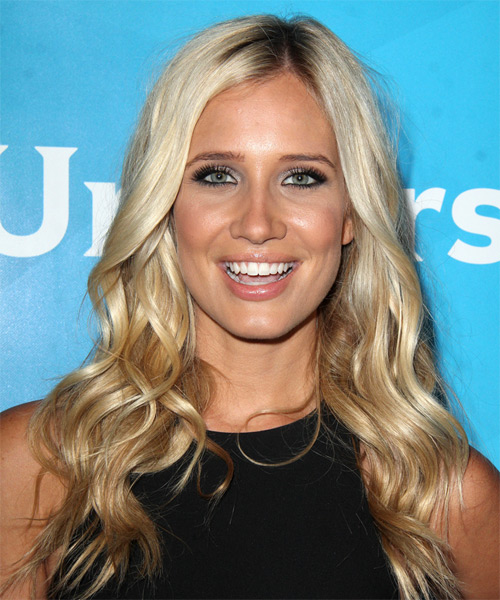 Kristine Leahy Long Wavy Casual Hairstyle - Light Blonde Hair Color
