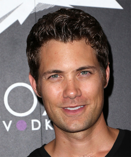 Drew Seeley Short Wavy Casual Hairstyle - Dark Brunette (Mocha) Hair Color