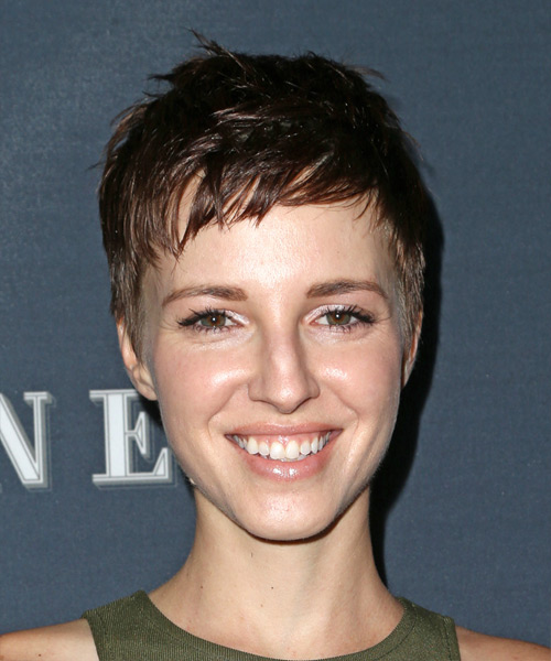 Emma Fitzpatrick Short Straight Pixie Hairstyle - Dark Brunette