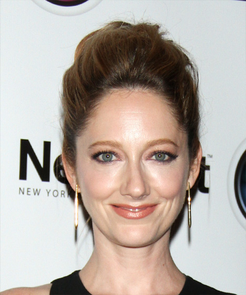 Judy Greer Casual Straight Updo Hairstyle - Medium Brunette