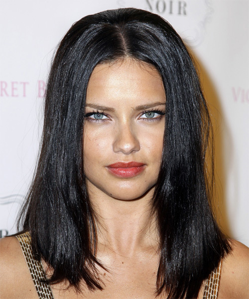 Adriana Lima Long Straight Casual Hairstyle - Black Hair Color