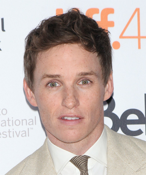 Eddie Redmayne Short Wavy Casual Hairstyle - Medium Brunette Hair Color