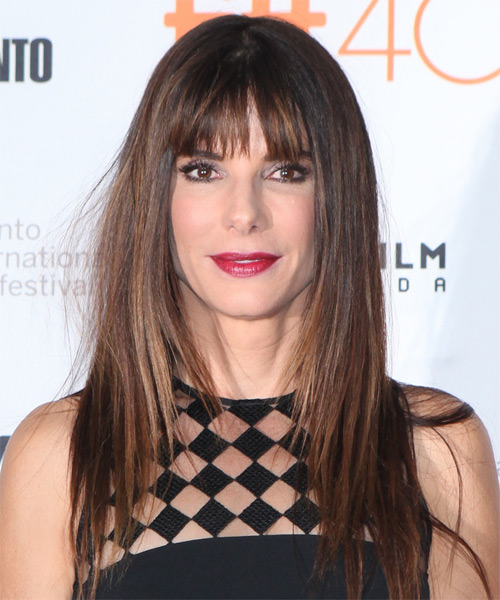 Sandra Bullock Long Straight Casual Hairstyle with Blunt Cut Bangs - Dark Brunette (Mocha) Hair Color