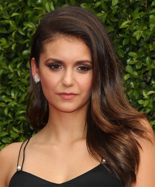 Nina Dobrev Long Straight Hairstyle - Dark Brunette