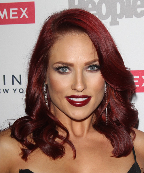 Sharna Burgess Long Wavy Formal Hairstyle - Medium Red (Burgundy) Hair Color