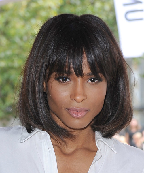 Ciara Medium Straight Casual Bob Hairstyle with Blunt Cut Bangs - Dark Brunette Hair Color