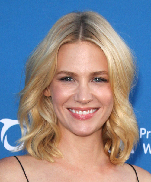 January Jones  Medium Wavy Casual Hairstyle - Light Blonde (Honey) Hair Color
