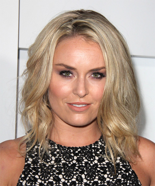 Lindsey Vonn Medium Wavy Casual Hairstyle - Light Blonde Hair Color